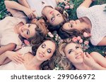 beautiful girls hen party with... | Shutterstock . vector #299066972
