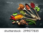 various herbs and spices on... | Shutterstock . vector #299077835