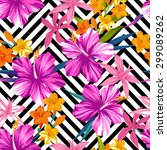 tropical floral seamless... | Shutterstock .eps vector #299089262