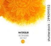 orange watercolor brush wash... | Shutterstock .eps vector #299099552
