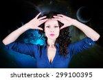 caucasian brunette woman... | Shutterstock . vector #299100395