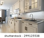 Stock photo white furniture in mediterranean kitchen d render 299125538