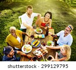 diverse people luncheon food... | Shutterstock . vector #299129795