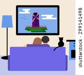 couple and cat watching... | Shutterstock . vector #299141498
