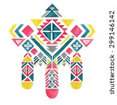 aztec big pattern watercolor... | Shutterstock . vector #299146142