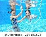 happy children swim in pool... | Shutterstock . vector #299151626