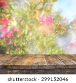 wood board table in front of... | Shutterstock . vector #299152046