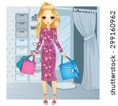 shopping girl. fashionable... | Shutterstock .eps vector #299160962