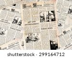 Stock photo old irish newspapers background 299164712