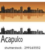 Acapulco Skyline In Orange...
