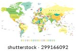 world map and navigation icons  ... | Shutterstock .eps vector #299166092