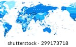 world map   asia in center | Shutterstock .eps vector #299173718