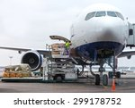 loading cargo into the aircraft ... | Shutterstock . vector #299178752