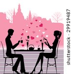 silhouette of the couple in the ... | Shutterstock .eps vector #29919487