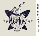 Aloha Surfing Lettering. Vecto...