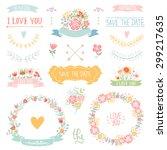 wedding vintage elements... | Shutterstock .eps vector #299217635