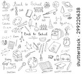 freehand drawing school items ... | Shutterstock .eps vector #299220638