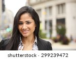 an attractive woman smiling at... | Shutterstock . vector #299239472