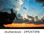 man sdinks from bottle on a bog ... | Shutterstock . vector #299247398