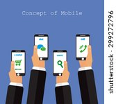 concept of mobile app in flat... | Shutterstock . vector #299272796