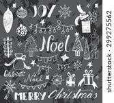 set of hand drawn doodle happy... | Shutterstock .eps vector #299275562