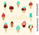 hand drawn vector ice cream... | Shutterstock .eps vector #299326445