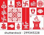 set of hindu symbols | Shutterstock .eps vector #299345228