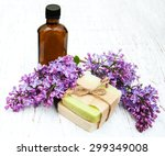 natural handmade soap and lilac ... | Shutterstock . vector #299349008