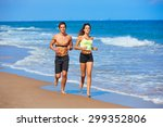 couple young running in the...   Shutterstock . vector #299352806