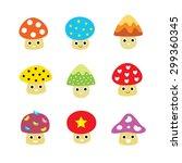 cute mushroom cartoon vector | Shutterstock .eps vector #299360345