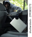 car theft   a laptop being... | Shutterstock . vector #299385272