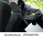 car theft   a laptop being... | Shutterstock . vector #299385392