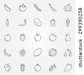 fruits and vegetables icons set ... | Shutterstock .eps vector #299390258
