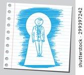 businessman in key hole  | Shutterstock .eps vector #299397242