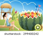 tropical fruit punch and cool... | Shutterstock .eps vector #299400242