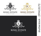 king real estate  crest logo... | Shutterstock .eps vector #299413172