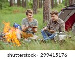 two young men are heated in a... | Shutterstock . vector #299415176