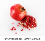 ripe pomegranate and its half... | Shutterstock . vector #299425436