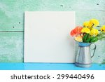 white frame canvas with flower... | Shutterstock . vector #299440496