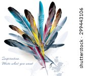 art background with feathers... | Shutterstock .eps vector #299443106