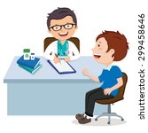male doctor consultation.... | Shutterstock .eps vector #299458646
