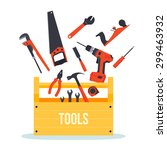 flat wooden hardware tools box... | Shutterstock .eps vector #299463932
