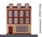 vector flat building. brick