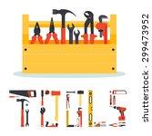 flat wooden hardware tools box... | Shutterstock .eps vector #299473952