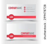 business card set template. red ... | Shutterstock .eps vector #299478728