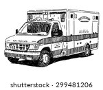 ambulance car vector drawing | Shutterstock .eps vector #299481206