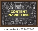 business doodles about content... | Shutterstock .eps vector #299487746