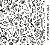 seamless pattern medical icons... | Shutterstock . vector #299504036