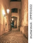 narrow cobbled street of the...   Shutterstock . vector #299551022