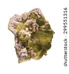 Small photo of Fluorapatite, Fluorite, Muscovite and Arsenopyrite, from Panasqueira, Portugal. Isolated on white.